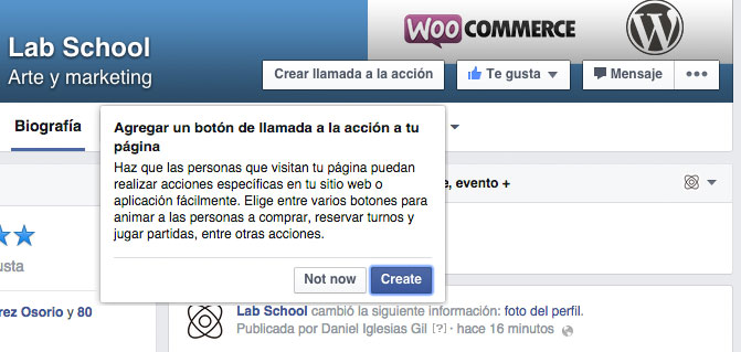 Call to action en páginas de Facebook