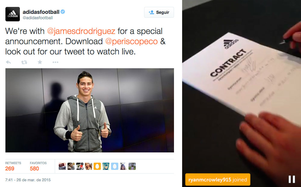 Periscope Firma James Rodriguez