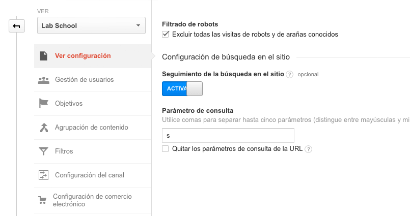 Google Analytics - Buscador Interno