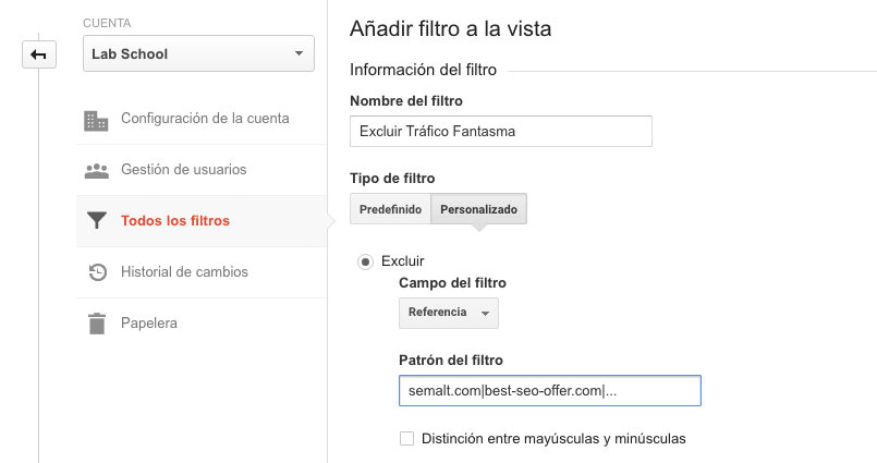 Google Analytics - Excluir tráfico fantasma