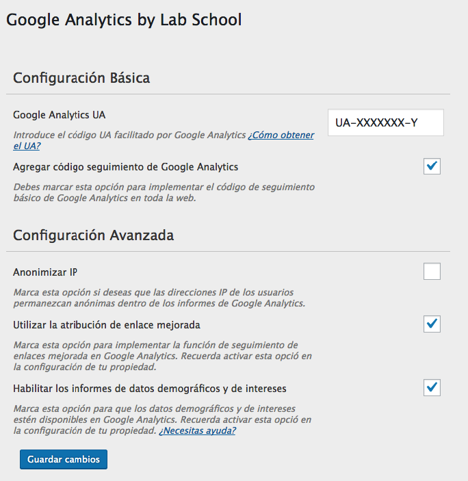 Configuración Google Analytics