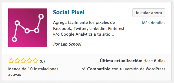 Plugin WordPress Social Pixel Lab School